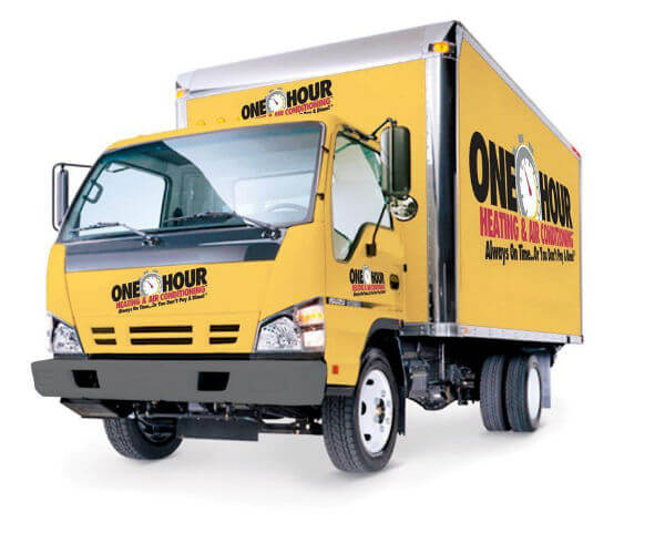 yellow One Hour HVAC truck