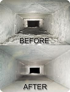 a before and after picture of a clean and dirty air duct