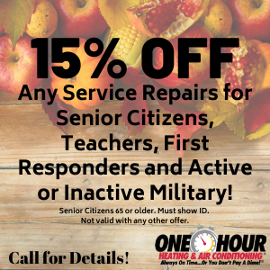 15% for seniors, teachers, military and first responders
