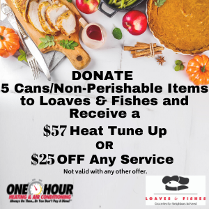 Donate 5 cans to Loaves & Fishes for $57 tune up