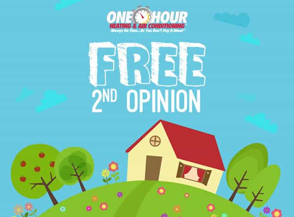 Cartoon Picture of a House With Announcing One Hour's Free 2nd Opinion