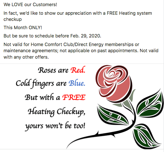 valentines day offer for a free heating system checkup