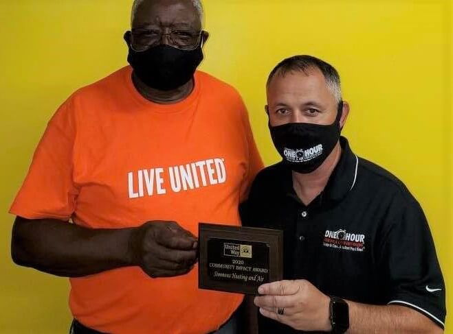 The One Hour Heating & Air Conditioning office in Laurinburg, NC received the United Way of Scotland County's Community Impact Award for the second year in a row.